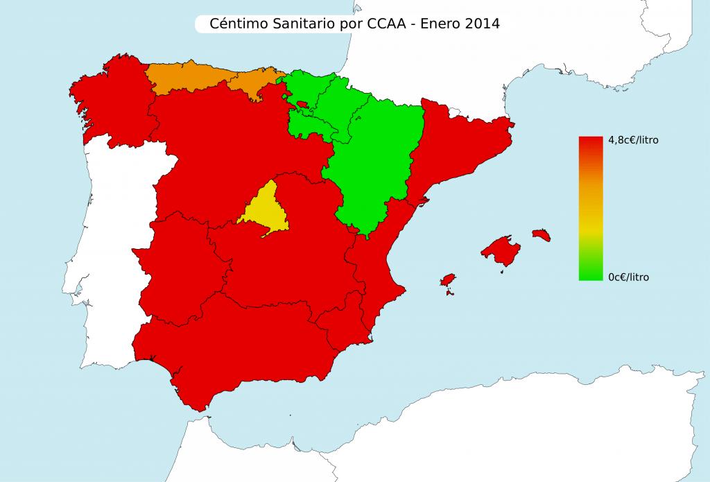 Mapa céntimo sanitario por CCAA