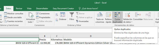 Quitar duplicados en Excel
