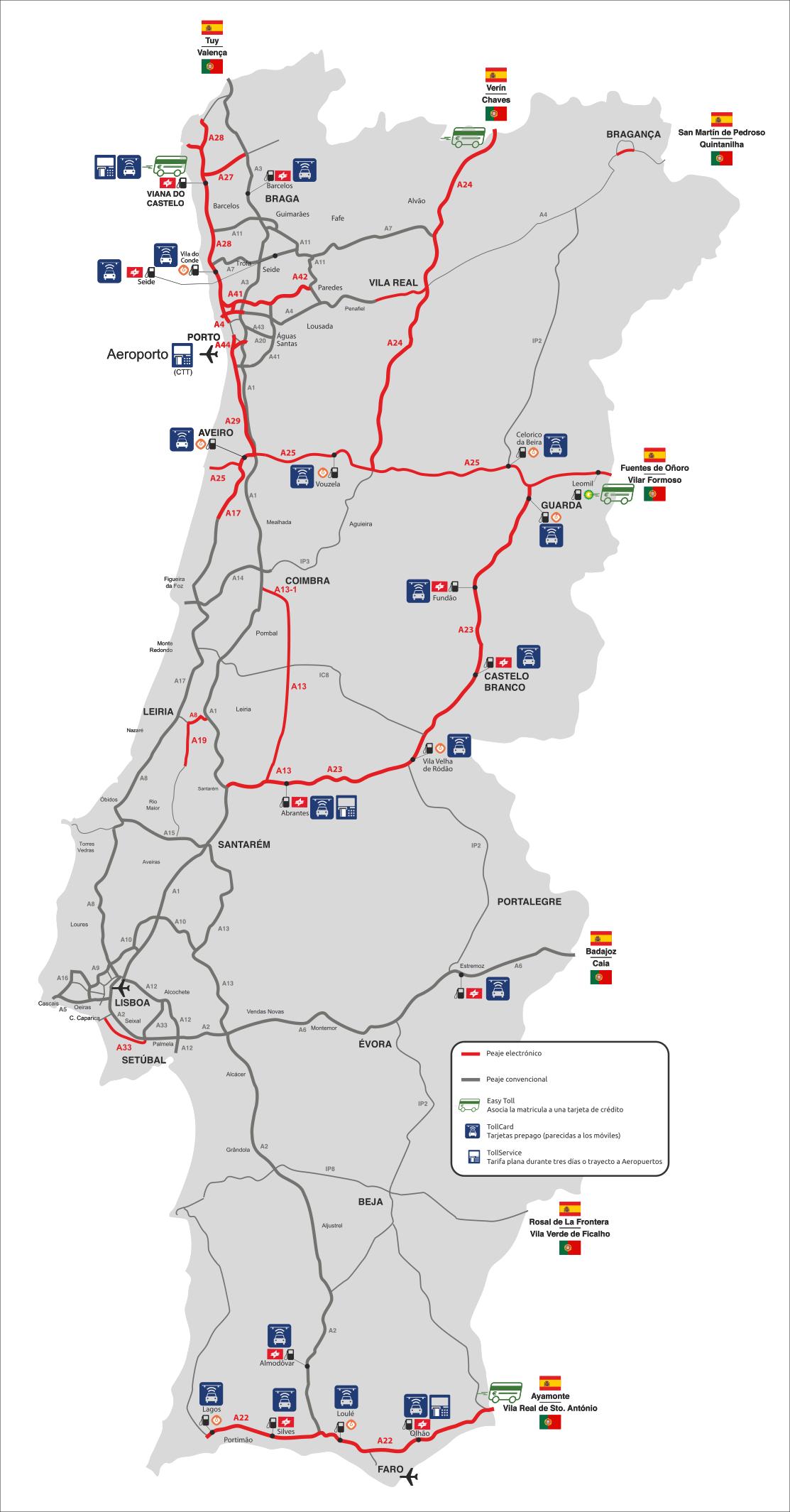 Mapa De Carreteras Portugal.Guia Definitiva Sobre Los Peajes En Portugal Seis En Linea